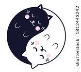Sleeping Yin Yang Cats. Cute...