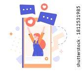 joyful school age girl on the...   Shutterstock .eps vector #1812531985