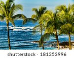 palm trees overlooking the... | Shutterstock . vector #181253996