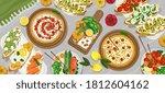 picnic food top view. outdoor... | Shutterstock .eps vector #1812604162
