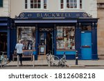 Small photo of Oxford, UK - August 04, 2020: Exterior of Blackwell bookshop in Oxford, a city in England famous for its prestigious university, established in the 12th century. Selective focus.