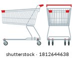 shopping cart isolated on white ...