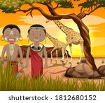 ethnic people of african tribes ... | Shutterstock .eps vector #1812680152