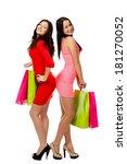 two young shopping merry women   Shutterstock . vector #181270052