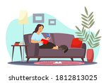 Girl Relaxing At Home Reading...