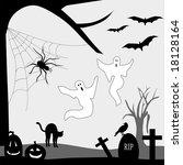 vector halloween graveyard is... | Shutterstock .eps vector #18128164
