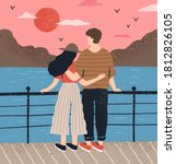 couple hugging standing on... | Shutterstock .eps vector #1812826105