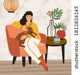 smiling female hugging and... | Shutterstock .eps vector #1812826165