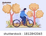 hello autumn. people ride bike...