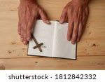 man reading holy bible close up ...   Shutterstock . vector #1812842332