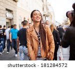 young african model posing on... | Shutterstock . vector #181284572