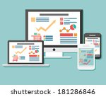 collection of flat icons mobile ... | Shutterstock .eps vector #181286846