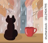 black cat sits on the...   Shutterstock .eps vector #1812904795