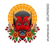 red devil head tattoo  vector... | Shutterstock .eps vector #1812905602