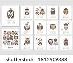 calendar 2021. with cartoon... | Shutterstock .eps vector #1812909388