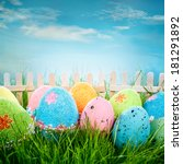 decorated easter eggs in the... | Shutterstock . vector #181291892