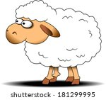 cute white sheep playing on... | Shutterstock .eps vector #181299995