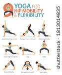 infographic 9 yoga poses for... | Shutterstock .eps vector #1813014835