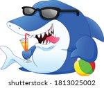 cute shark is drinking orange... | Shutterstock .eps vector #1813025002