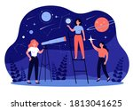 people studying astronomy and... | Shutterstock .eps vector #1813041625