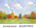 abstract landscape with autumn...   Shutterstock . vector #1813079905