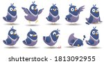 cartoon bird character set.... | Shutterstock .eps vector #1813092955