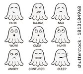 ghost emoji. funny hand drawn... | Shutterstock .eps vector #1813184968