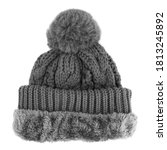 Black Wool Knit Ski Hat With...