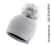 Gray Wool Knit Ski Hat With...
