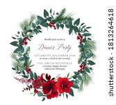 christmas round wreath with red ... | Shutterstock .eps vector #1813264618