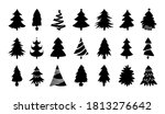 christmas tree black silhouette ... | Shutterstock .eps vector #1813276642