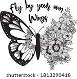 butterflies and flowers  design ... | Shutterstock .eps vector #1813290418