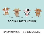covid 19 and social distancing...   Shutterstock .eps vector #1813290682