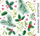 pattern christmas ornaments... | Shutterstock . vector #1813377265