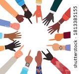 diversity of hands skin with... | Shutterstock .eps vector #1813385155