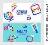 back to school  online learning ...   Shutterstock .eps vector #1813412125