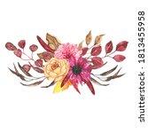 watercolor autumn floral... | Shutterstock . vector #1813455958
