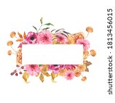 watercolor autumn floral... | Shutterstock . vector #1813456015