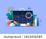 big data analysis flat concept... | Shutterstock . vector #1813456585