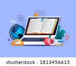 online education flat concept... | Shutterstock . vector #1813456615