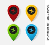 realistic color pointer  plane. ... | Shutterstock .eps vector #181350908
