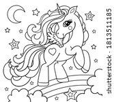 Cute Cartoon Unicorn On A...