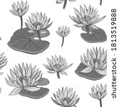 seamless pattern water lily.... | Shutterstock .eps vector #1813519888
