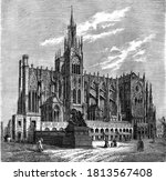 Cathedral of Saint Stephen of Metz, Vintage engraving. From Popular France, 1869.