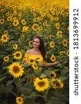 Beautiful Girl With Sunflowers. ...