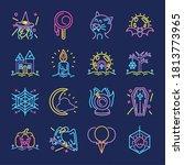set of icons in neon light for... | Shutterstock .eps vector #1813773965
