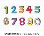 sketch numbers 0 9 | Shutterstock .eps vector #181377572