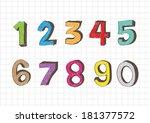 sketch numbers 0 9 | Shutterstock .eps vector #181377572