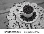 coffee beans in a cup with pink ... | Shutterstock . vector #181380242