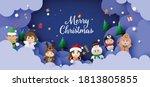 paper art of christmas cute... | Shutterstock .eps vector #1813805855